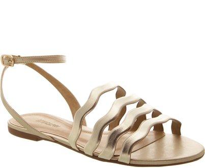 Sandália Tiras Onduladas Ouro Claro | Anacapri