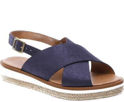 Sandállia Rasteira Flatform Brilho Azul   Anacapri
